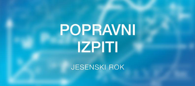 Popravni izpiti – jesenski rok 2019